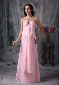 Baby Pink Spaghetti Straps Long Ruched Pageant Dress with Beading