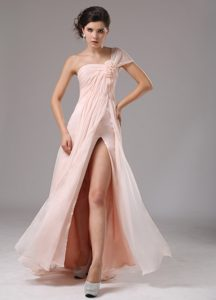 One Shoulder Long Ruched Baby Pink Pageant Dresses with High Slit