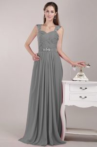 Cheap Gray Straps Long Ruched Chiffon Pageant Dress with Beading