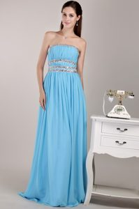 Strapless Brush Train Aqua Blue Ruched Chiffon Pageant Dress with Beading