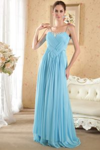 Cheap Spaghetti Straps Brush Train Aqua Blue Ruched Chiffon Pageant Dress