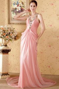 V-neck Court Train Rose Pink Ruched Drapped Pageant Dress with Beading