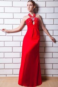 Hot Red Long Straps Ruched Pageant Dress with Beading and Cutout