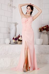 One Shoulder Brush Train Peach Ruched Chiffon Pageant Dress with Flowers