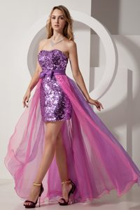 Sweetheart High-low Two-toned Purple Sequin and Chiffon Pageant Dresses