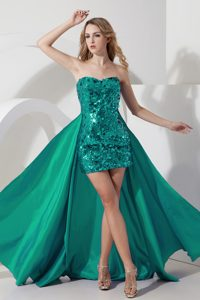 Sweetheart Mini-length Sequin Turquoise Pageant Dress with Detachable Train