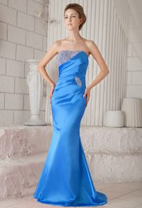 Aqua Blue Strapless Brush Train Mermaid Pageant Dress with Beading
