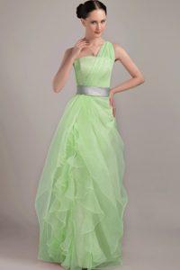 One Shoulder Long Light Green Ruffles Pageant Dress with Silver Belt