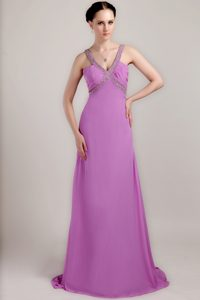 V-neck Brush Train Ruched Lavender Chiffon Beaded Pageant Dress on Sale
