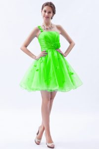 One Shoulder Mini-length Spring Green Pageant Dress for Girls with Flowers