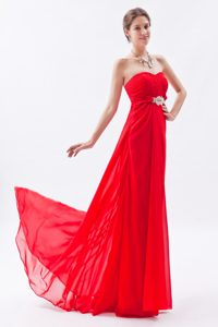 New Strapless Brush Train Ruched Red Chiffon Pageant Dress with Appliques