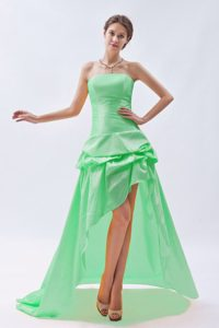 Strapless High-low Apple Green Pageant Dress with Pick-ups on Sale