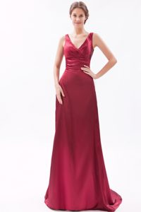 V-neck Straps Brush Train Wine Red Ruched Pageant Dress for Cheap