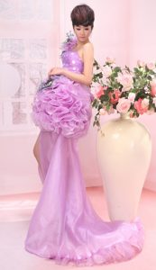 One Shoulder High-low Beaded Ruffled Lavender Pageant Dress with Flowers