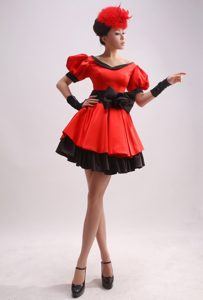 Sexy Short Sleeves Red and Black Little Girls Formal Dresses with Bowknot