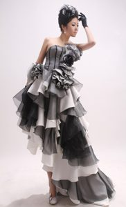 High-low Exquisite Grey Little Girls Formal Dresses with Flowers under 200
