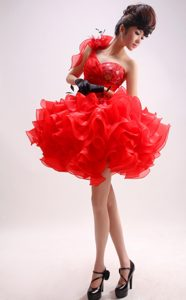 Modern One Shoulder Red Organza Pageant Dresses for Toddlers for Summer