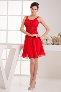 Wonderful Ruched and Beaded Zipper-up Toddler Pageant Dresses in Red