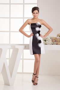 Sweet Strapless Black and White Long Pageant Dresses for Kids with Flowers