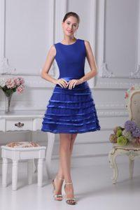 Impressive Zipper-up Blue Chiffon Short Girls Pageant Dress for High School