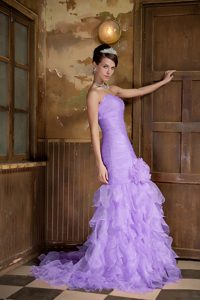 Elegant Lilac Mermaid Sweetheart Evening Girl Pageant Dress with Ruffles