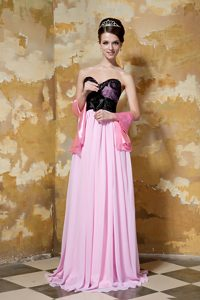 Pink and Black Zipper-up Chiffon Brush Train Pageant Dresses for Little Girls