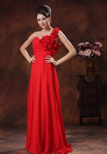 Magnificent Flowers Chiffon Red Long Girl Pageant Dress for Middle School