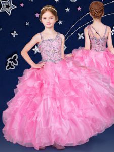 Fashion Rose Pink Asymmetric Neckline Beading and Ruffles Pageant Gowns For Girls Sleeveless Zipper