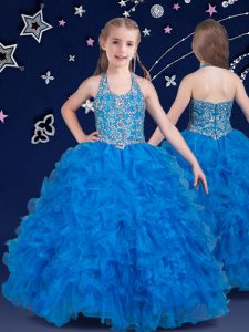 High End Halter Top Baby Blue Zipper Little Girls Pageant Dress Wholesale Beading and Ruffles Sleeveless Floor Length