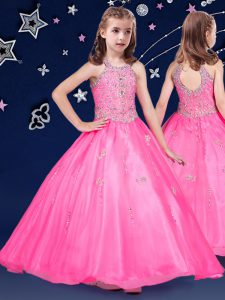 Halter Top Sleeveless Organza Floor Length Zipper Little Girls Pageant Dress Wholesale in Hot Pink with Beading