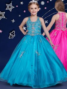 Affordable Blue Custom Made Pageant Dress Quinceanera and Wedding Party and For with Beading Scoop Sleeveless Zipper