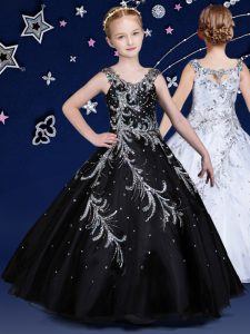 Scoop Sleeveless Floor Length Beading Zipper Girls Pageant Dresses with Black