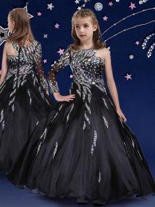 Top Selling Organza Asymmetric Sleeveless Zipper Beading and Ruffles High School Pageant Dress in Black