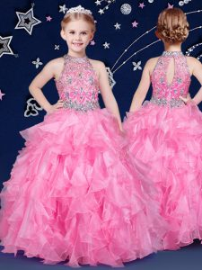 Halter Top Sleeveless Floor Length Beading and Ruffles Zipper Child Pageant Dress with Rose Pink