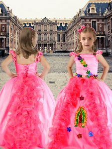 Enchanting Rose Pink Cap Sleeves Organza and Taffeta Lace Up Little Girls Pageant Gowns for Quinceanera and Wedding Part