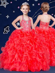 Halter Top Sleeveless Pageant Gowns Floor Length Beading and Ruffles Coral Red Organza
