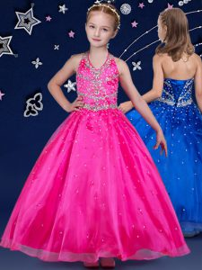 Halter Top Sleeveless Lace Up Floor Length Beading Little Girls Pageant Dress