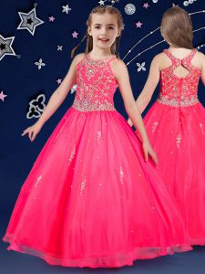Unique Scoop Sleeveless Floor Length Beading Zipper Little Girls Pageant Dress with Hot Pink