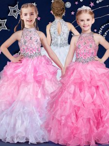 Halter Top Floor Length Ball Gowns Sleeveless White and Pink And White Little Girls Pageant Dress Zipper
