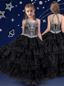 Perfect Ruffled Halter Top Sleeveless Zipper Little Girl Pageant Gowns Black Organza