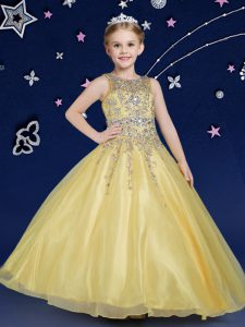 New Style Scoop Gold Ball Gowns Beading Pageant Dress for Womens Zipper Organza Sleeveless Floor Length