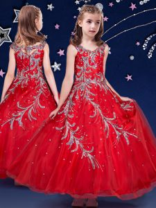 Popular Scoop Ankle Length Red Kids Pageant Dress Organza Sleeveless Beading and Appliques