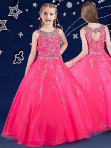 Stunning Scoop Beading Pageant Dress for Teens Hot Pink Zipper Sleeveless Floor Length