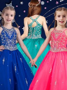 Scoop Beading Little Girls Pageant Gowns Hot Pink and Royal Blue Zipper Sleeveless Floor Length