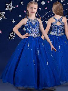 Dramatic Scoop Sleeveless Beading Zipper Pageant Dress Toddler