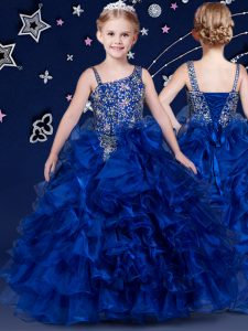 Floor Length Royal Blue Little Girls Pageant Dress Wholesale Organza Sleeveless Beading and Ruffled Layers