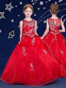 Latest Red Ball Gowns Scoop Sleeveless Organza Floor Length Zipper Beading and Appliques Little Girls Pageant Gowns