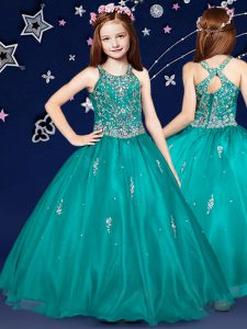 Teal Organza Zipper Scoop Sleeveless Floor Length Kids Formal Wear Beading