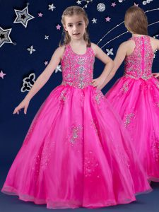 Fuchsia Ball Gowns Scoop Sleeveless Organza Floor Length Zipper Beading Kids Pageant Dress