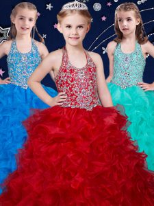 Floor Length Wine Red and Baby Blue and Turquoise Girls Pageant Dresses Halter Top Sleeveless Zipper